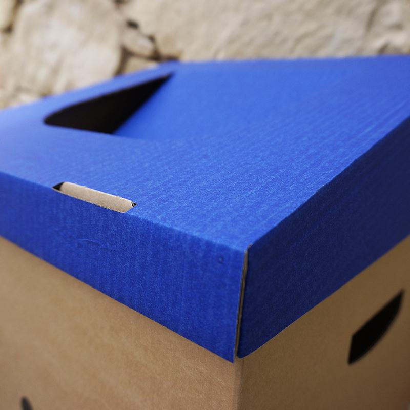 Papelera de cartón reciclable azul