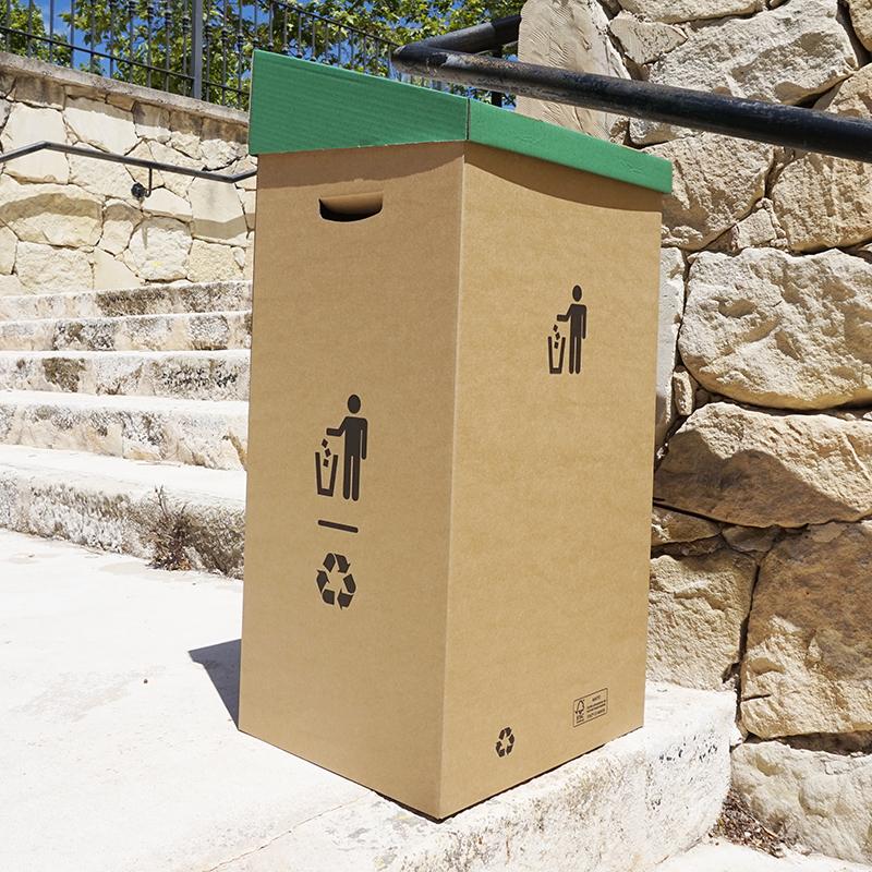 Papeleras de cartón colores reciclaje